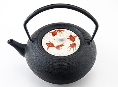 鋳心ノ工房 ティポット 平つぼL(金魚)