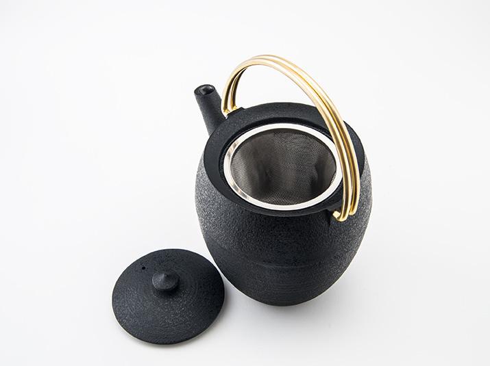 鋳心ノ工房 ティポット 丸筒L(黒/金)