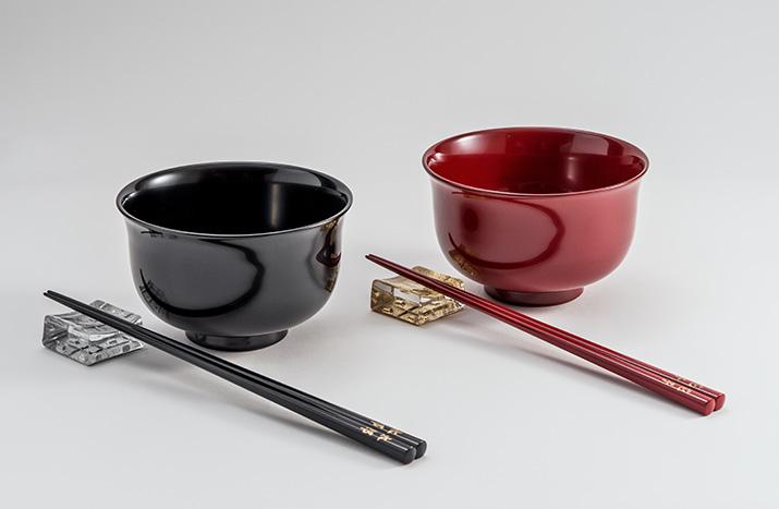 福井 越前漆器 名入れ百合椀と箸...