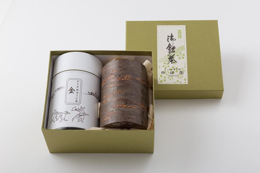 伊藤柳櫻園茶舗 ほうじ茶 [金]と秋田樺細工 茶筒セット
