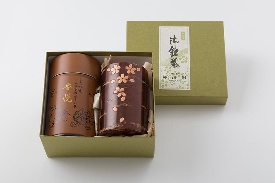 伊藤柳櫻園茶舗 ほうじ茶[香悦]と秋田樺細工 茶筒セット