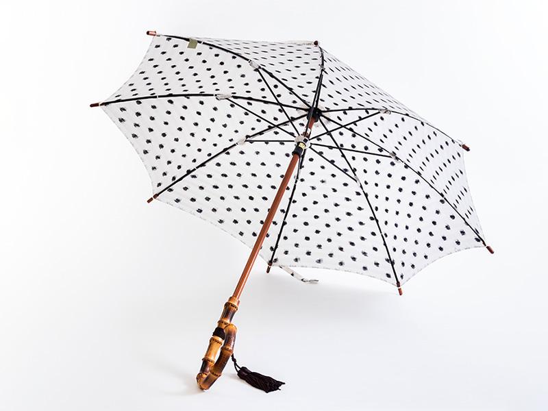 久留米絣 日傘 バンブー 水玉 白地