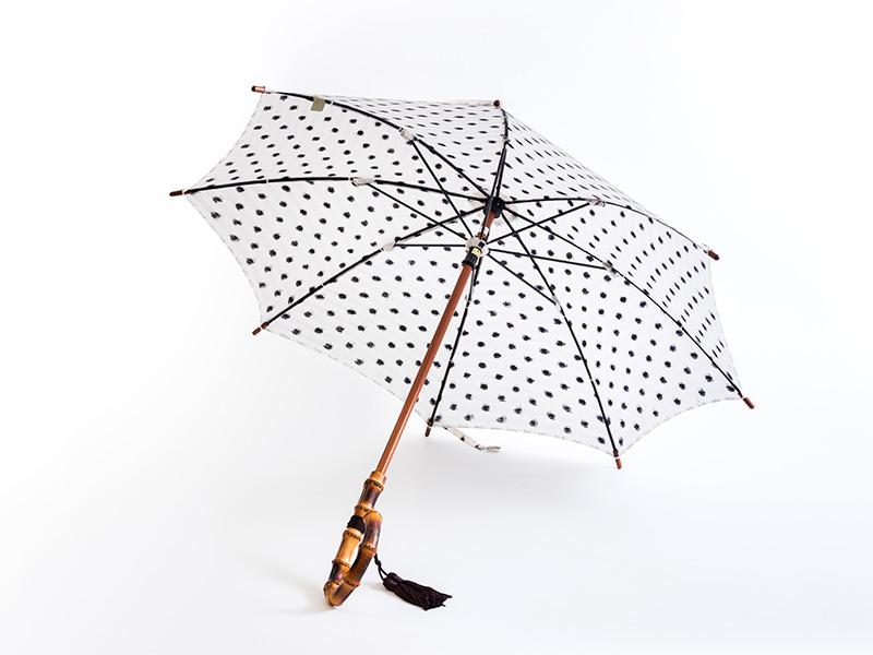 久留米絣 日傘 ミニ傘/バンブー  水玉 黒地