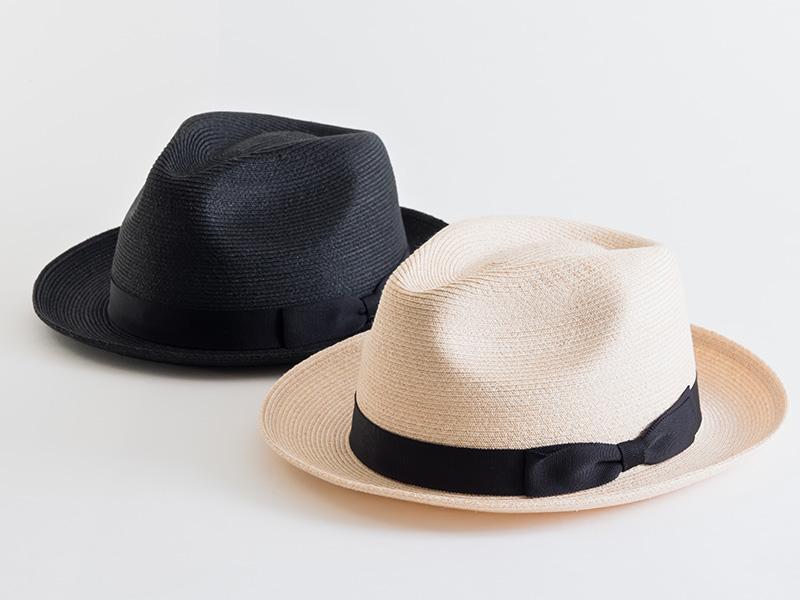 石田製帽 中折ハット リボン付 ナチュラル