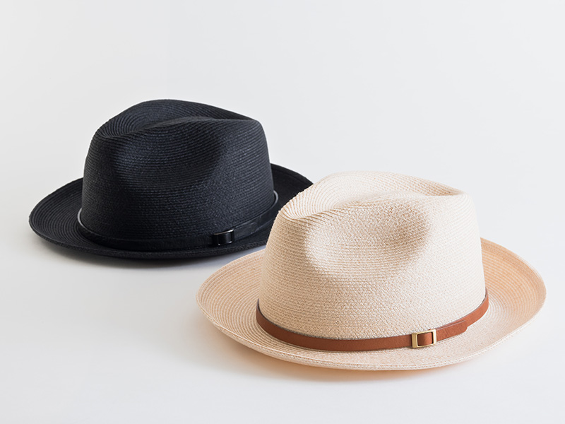 石田製帽 中折ハット レザーベルト付 ナチュラル