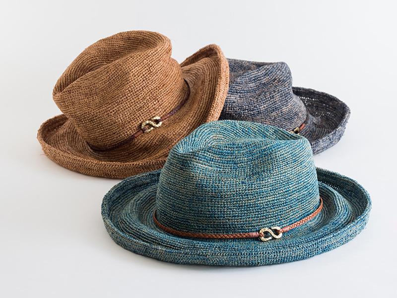 石田製帽 ポークセーラ ベルト付 ライトブルー