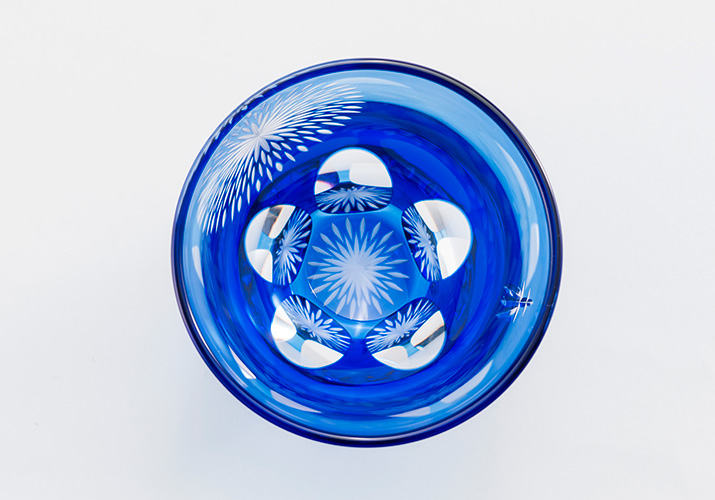 江戸切子 丸ロックグラス 隅田川の花火 青藍