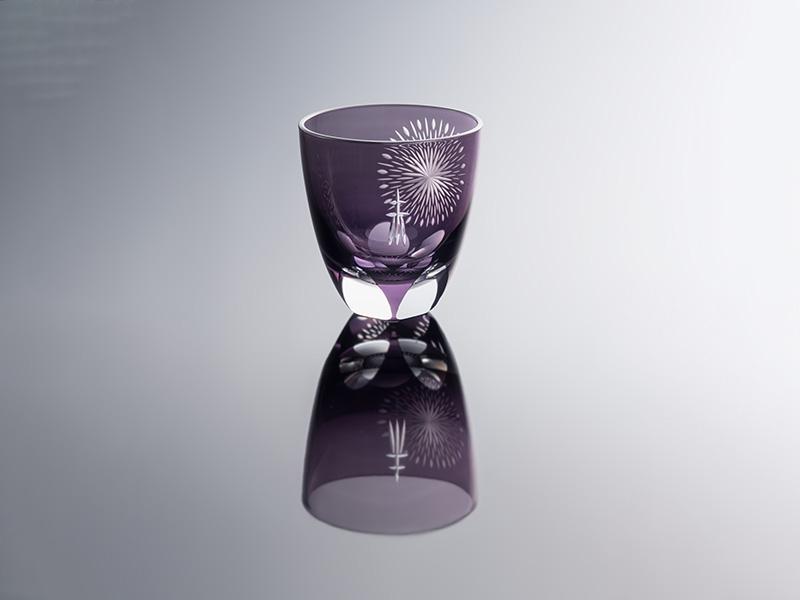 江戸切子 丸ロックグラス 隅田川の花火 紫